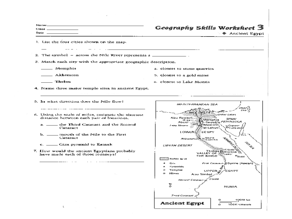 Geography Skills Worksheet: Ancient Egypt Worksheet for 6th - 9th Grade    Lesson Planet [ 768 x 1024 Pixel ]