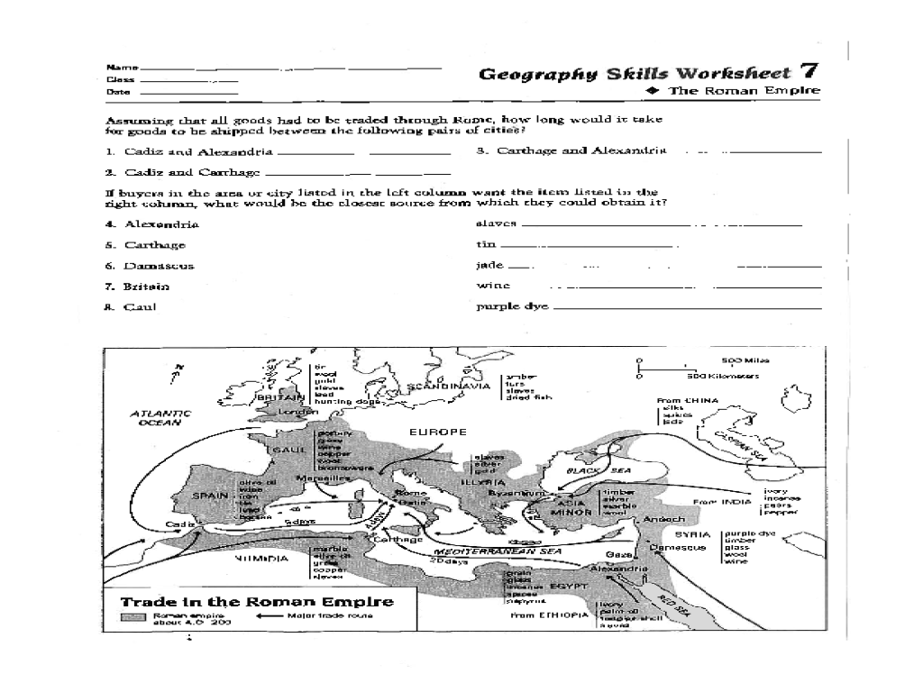 Geography Skills Worksheet: The Roman Empire Worksheet for 6th - 8th Grade    Lesson Planet [ 768 x 1024 Pixel ]