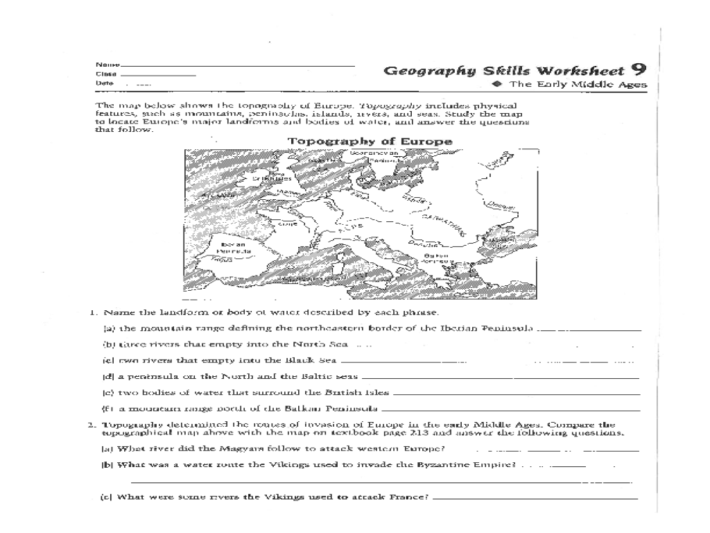 Geography Skills Worksheet: The Early Middle Ages Worksheet for 6th - 8th  Grade   Lesson Planet [ 768 x 1024 Pixel ]