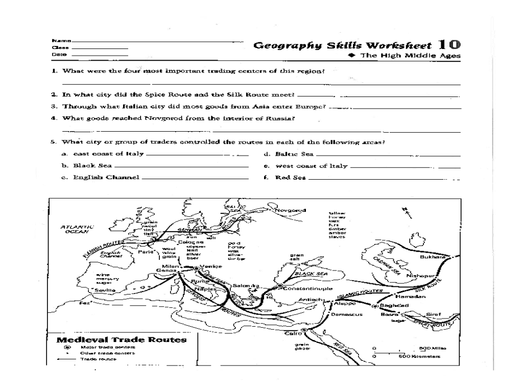 Geography Skills Worksheet: High Middle Ages Worksheet for 6th - 12th Grade    Lesson Planet [ 768 x 1024 Pixel ]