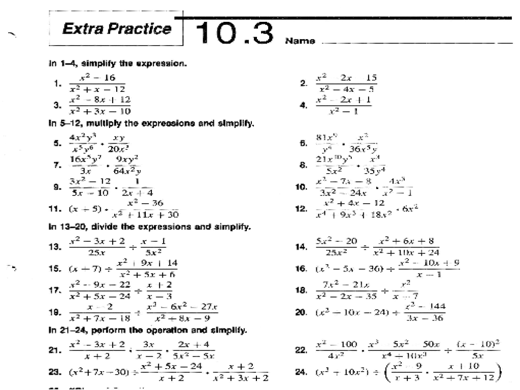 hight resolution of Extra Practice 10.3: Dividing Polynomials Worksheet for 9th - 11th Grade    Lesson Planet