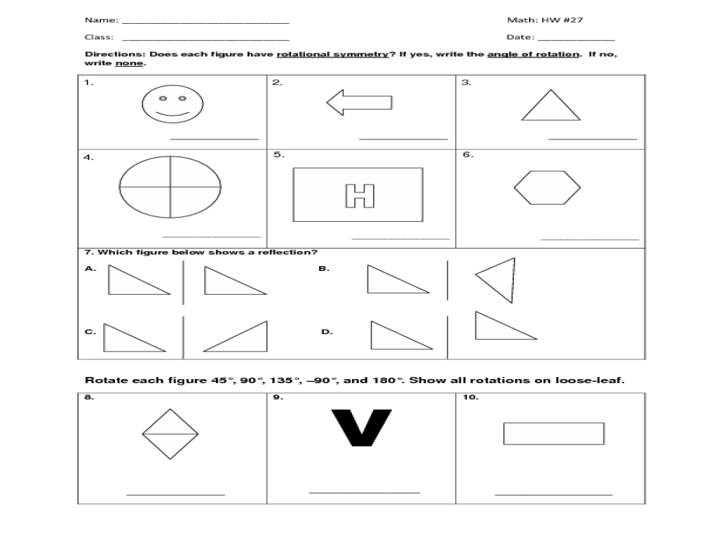 Lines Of Symmetry Worksheet 4th Grade