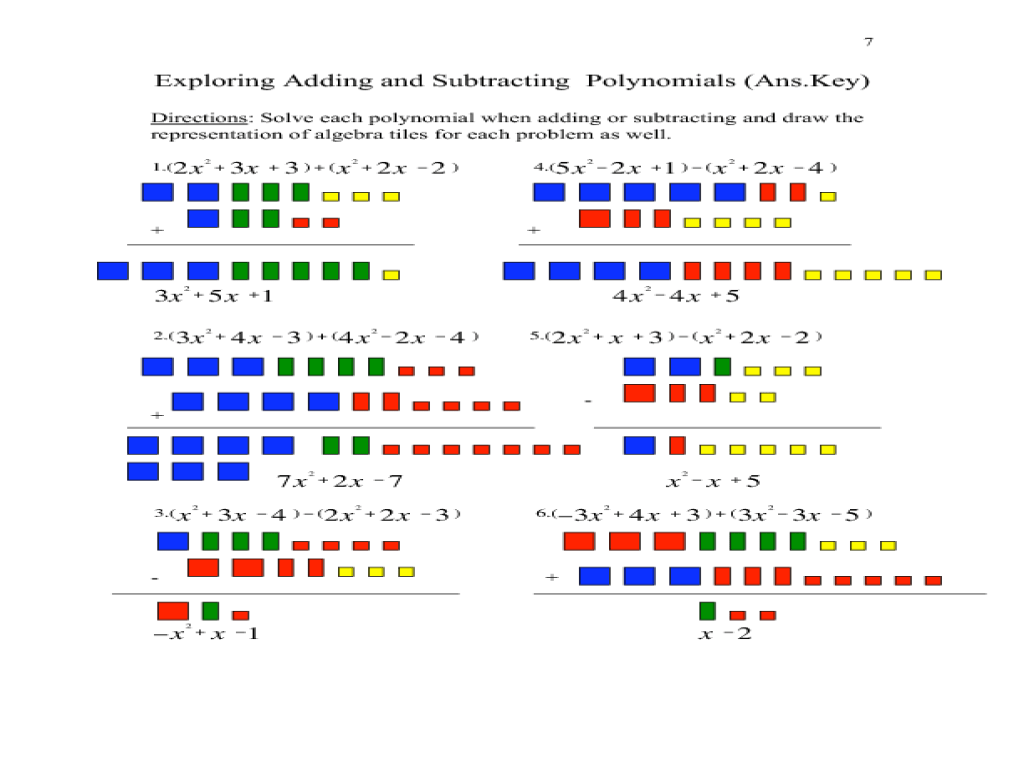 Adding and Subtracting Polynomials Using Algebra Tiles Lesson Plan for 9th  - 11th Grade   Lesson Planet [ 768 x 1024 Pixel ]