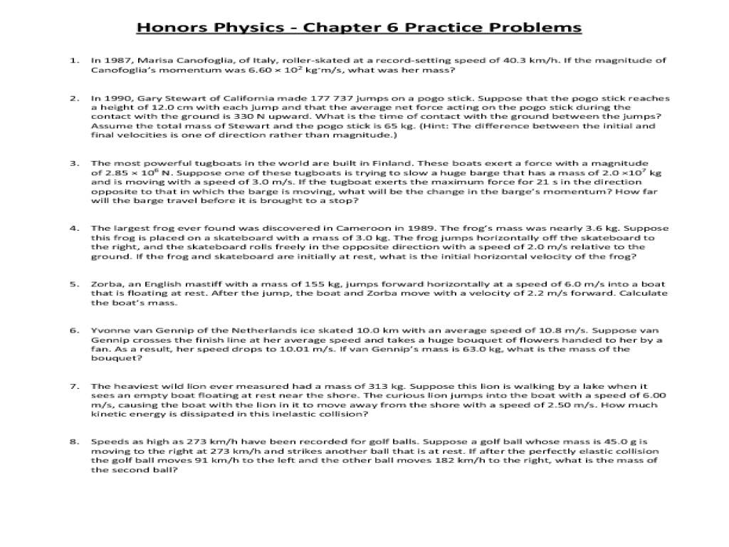 hight resolution of Honors Physics - Chapter 6 Practice Problems Worksheet for 11th - 12th Grade    Lesson Planet