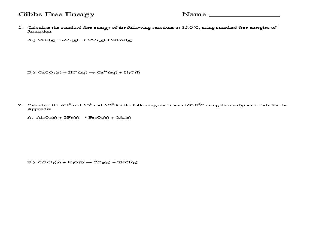 small resolution of Gibbs Free Energy Worksheet for 10th - 12th Grade   Lesson Planet