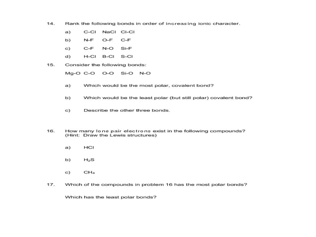 small resolution of Worksheet 13 - Chemical Bonding Worksheet for 9th - 12th Grade   Lesson  Planet