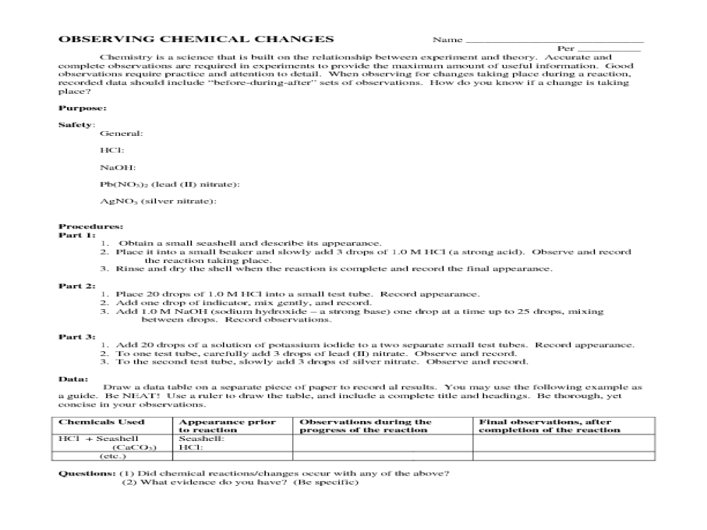 33 Observing Chemical Change Worksheet Answers - Worksheet Resource Plans [ 768 x 1024 Pixel ]