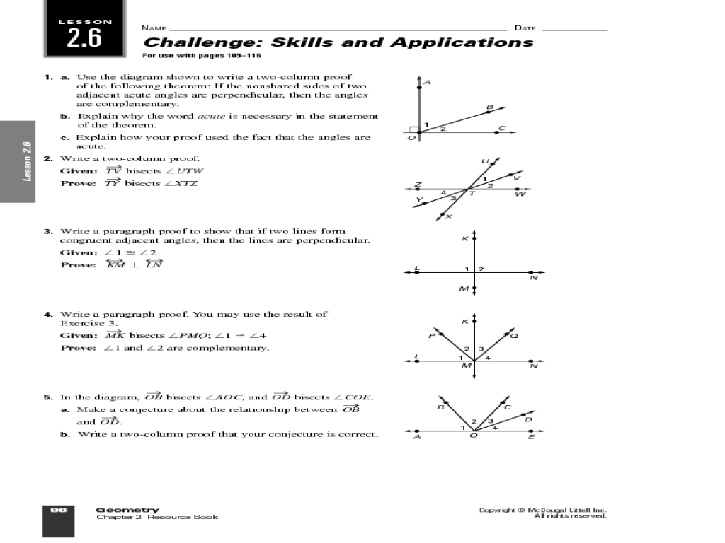 small resolution of Geometric Proof and Angles Worksheet for 10th Grade   Lesson Planet