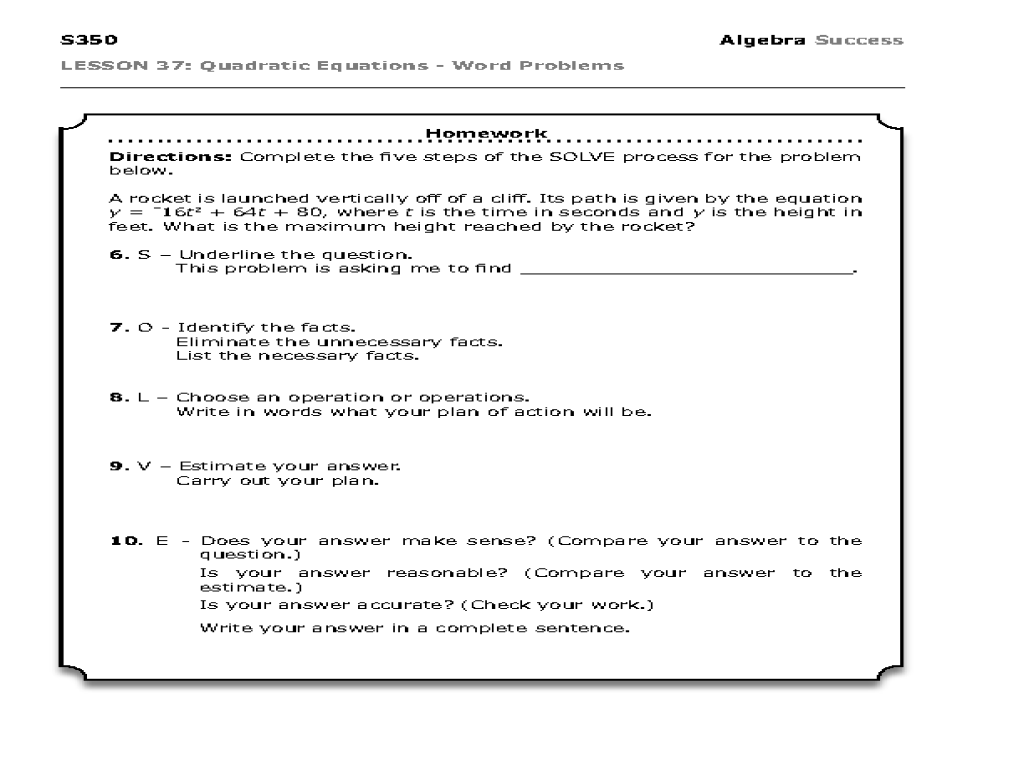 hight resolution of Quadratic Equations - Word Problems Worksheet for 9th Grade   Lesson Planet