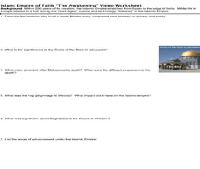 Islam Empire Of Faith The Awakening Video Worksheet Worksheet
