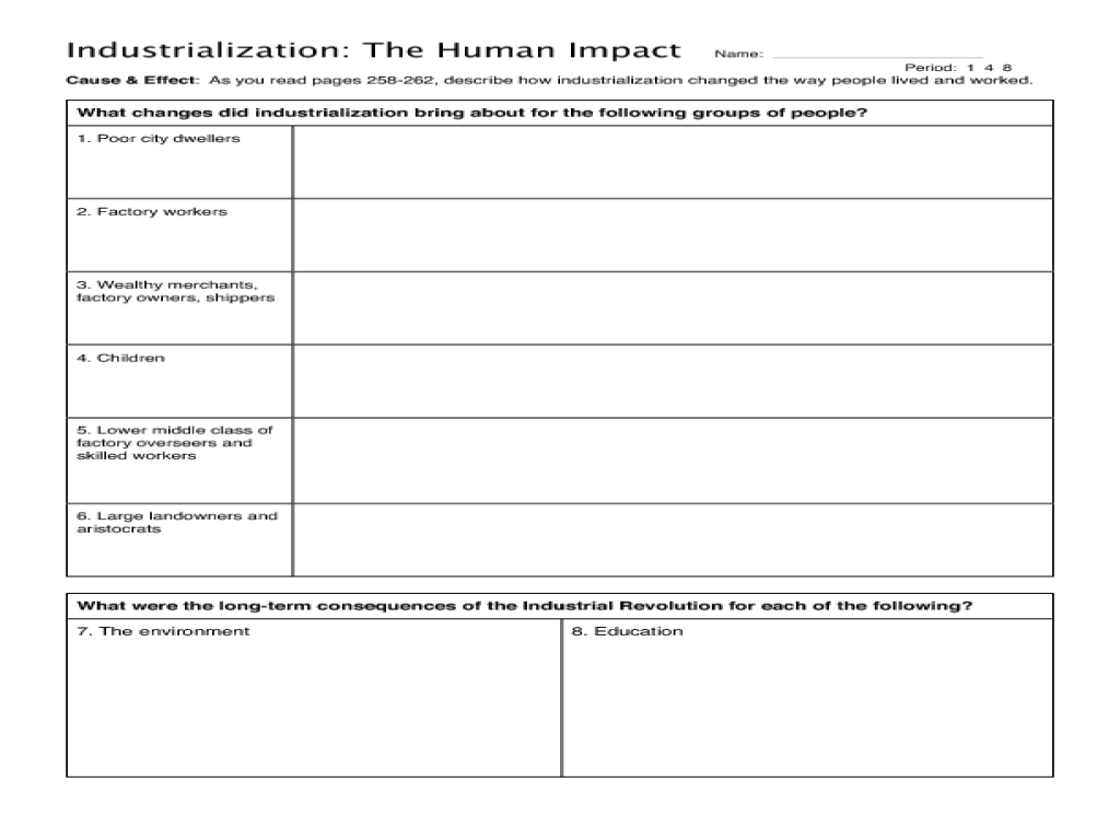 hight resolution of Industrialization: The Human Impact Graphic Organizer for 8th - 11th Grade    Lesson Planet