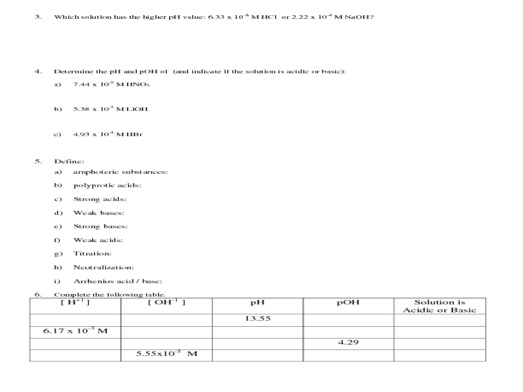 hight resolution of More Practice with Acids and Bases Worksheet for 9th - 12th Grade   Lesson  Planet
