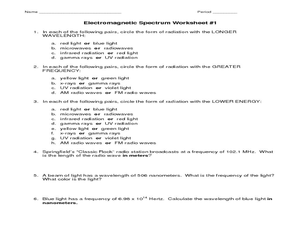 Electromagnetic Spectrum Worksheet Worksheet for 7th - 10th Grade   Lesson  Planet [ 768 x 1024 Pixel ]