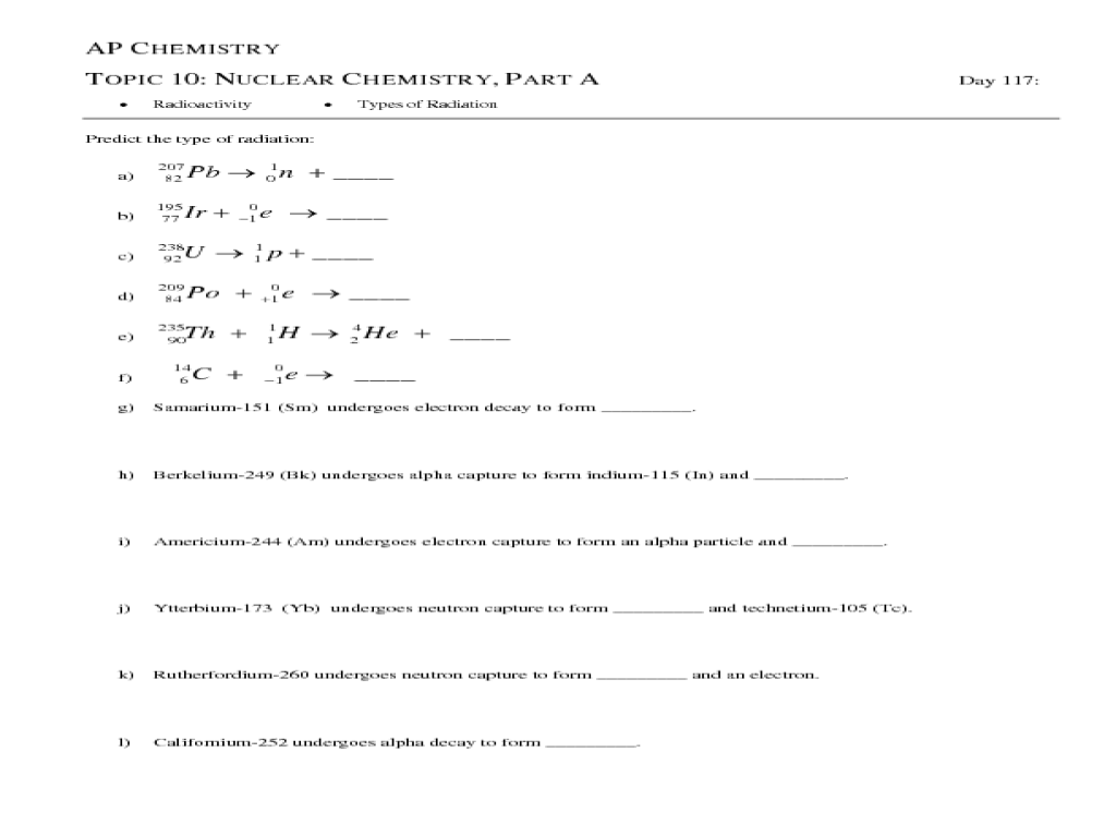 small resolution of AP Chemistry Topic 10: Nuclear Chemistry
