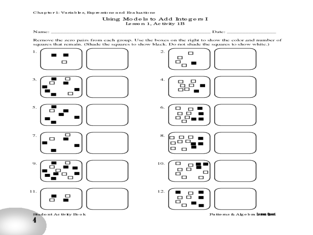 hight resolution of Using Models to Add Integers I Worksheet for 6th - 8th Grade   Lesson Planet