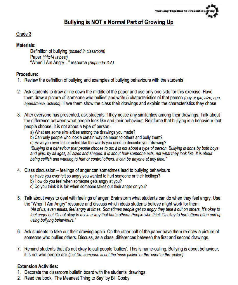 hight resolution of Bullying is NOT a Normal Part of Growing Up—3rd Grade Lesson Plan for 3rd  Grade   Lesson Planet
