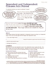 Independent And Subordinate Clauses Worksheet. Worksheets