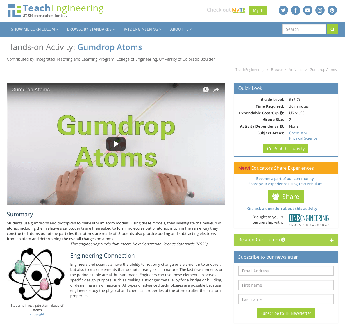 hight resolution of Gumdrop Atoms Activities \u0026 Project for 5th - 7th Grade   Lesson Planet