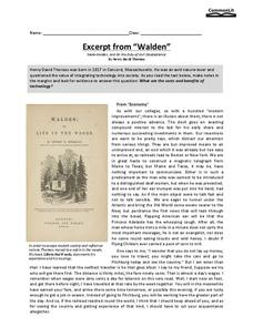 walden from thoreau lesson