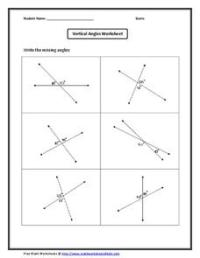 Vertical Angles Worksheet Worksheet for 10th Grade ...