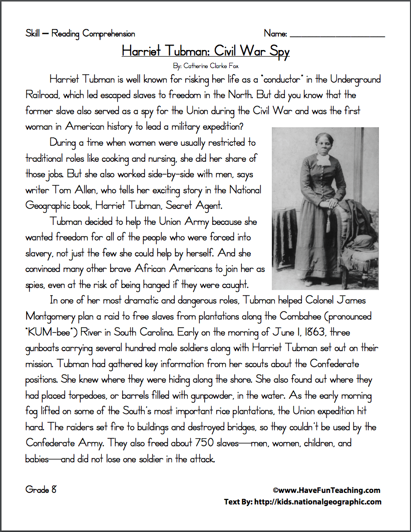 Harriet Tubman: Civil War Spy Worksheet for 6th - 9th Grade   Lesson Planet [ 1062 x 821 Pixel ]
