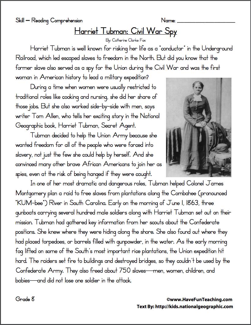 medium resolution of Harriet Tubman: Civil War Spy Worksheet for 6th - 9th Grade   Lesson Planet