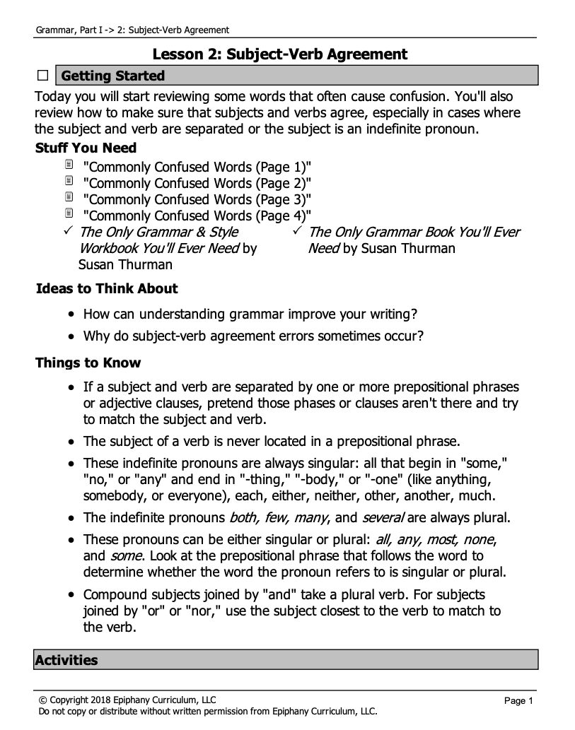 Subject-Verb Agreement/Commonly Confused Words Lesson Plan for 4th - 8th  Grade   Lesson Planet [ 1033 x 813 Pixel ]