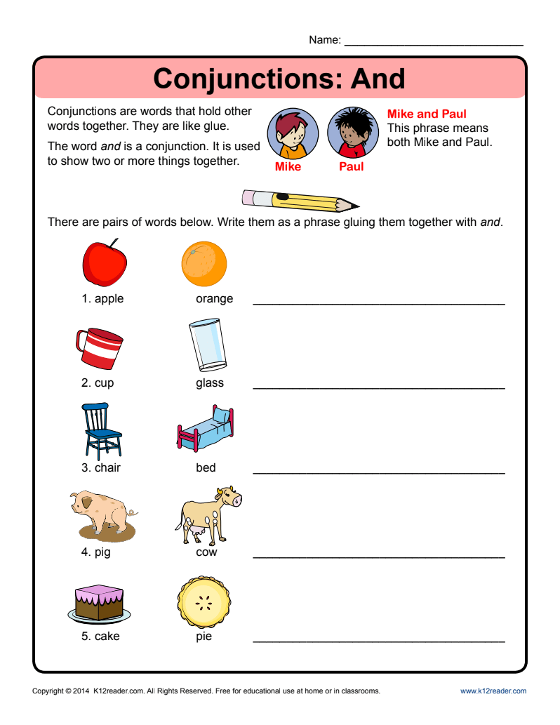 small resolution of Conjunctions: And Worksheet for Kindergarten - 2nd Grade   Lesson Planet