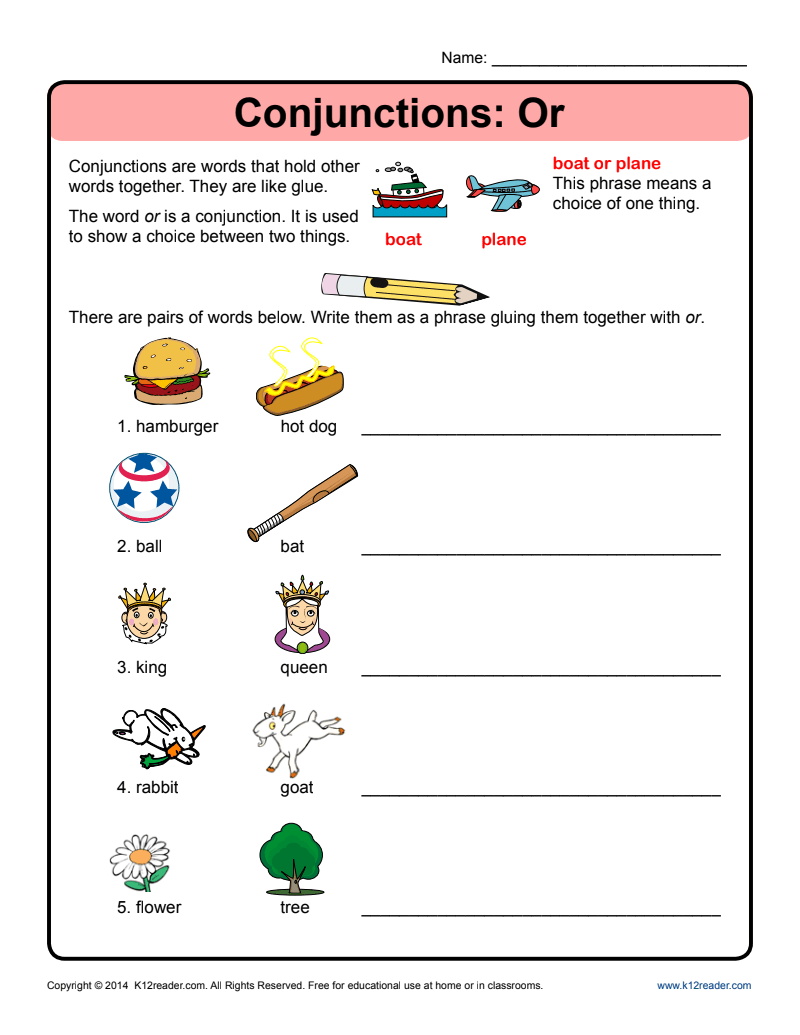 Conjunctions: Or Worksheet for Kindergarten - 2nd Grade   Lesson Planet [ 1035 x 800 Pixel ]