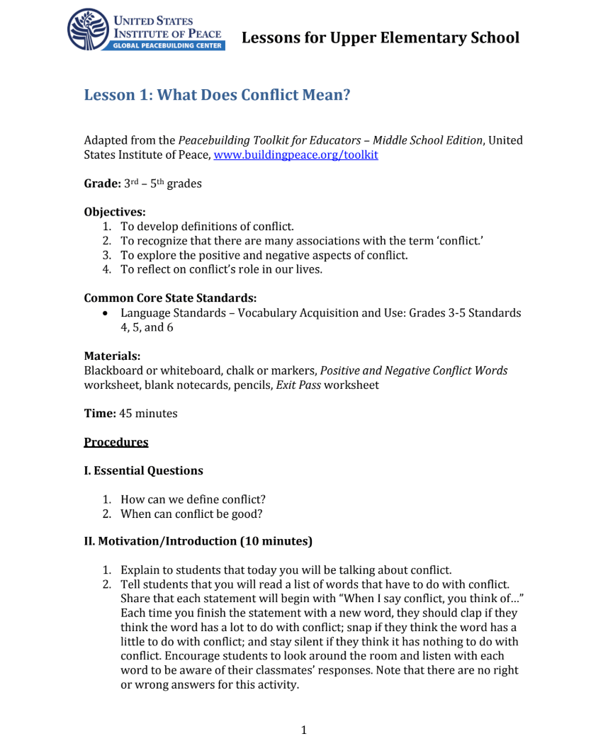 medium resolution of What Does Conflict Mean? Lesson Plan for 3rd - 5th Grade   Lesson Planet