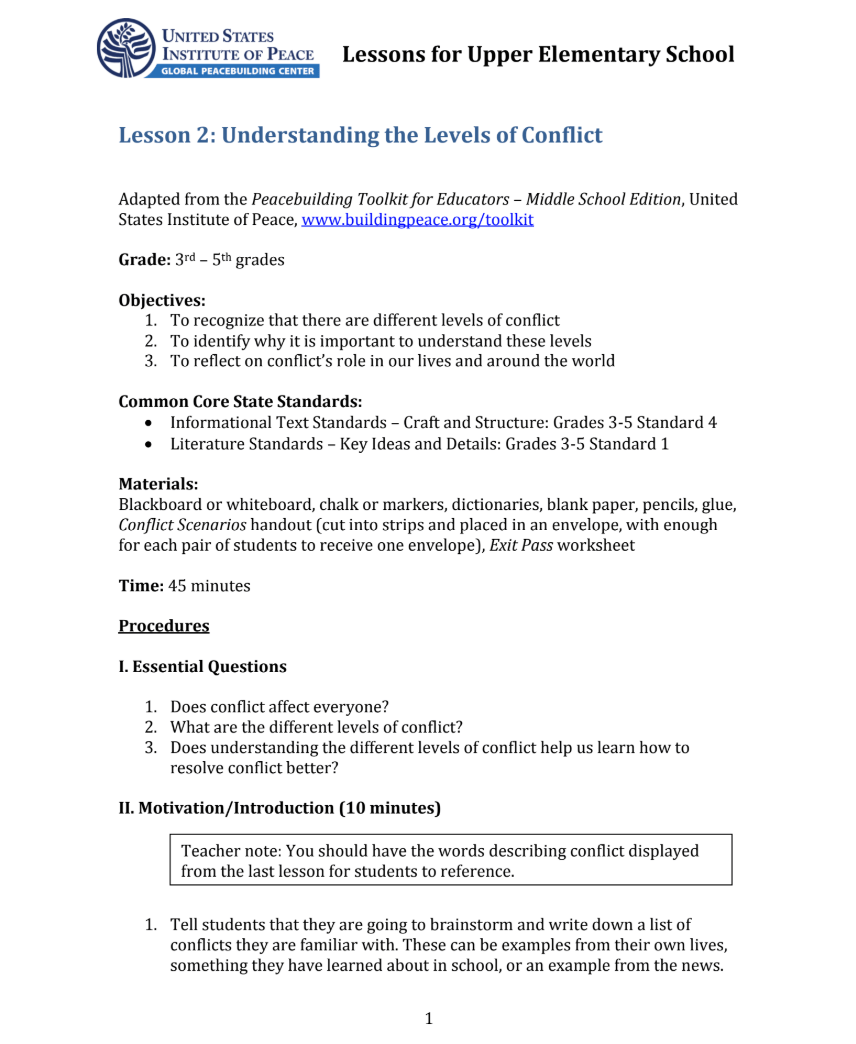 hight resolution of Understanding the Levels of Conflict Lesson Plan for 3rd - 5th Grade    Lesson Planet