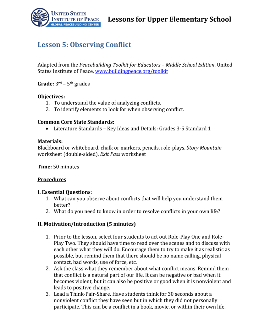 Observing Conflict Lesson Plan for 3rd - 5th Grade   Lesson Planet [ 1031 x 859 Pixel ]