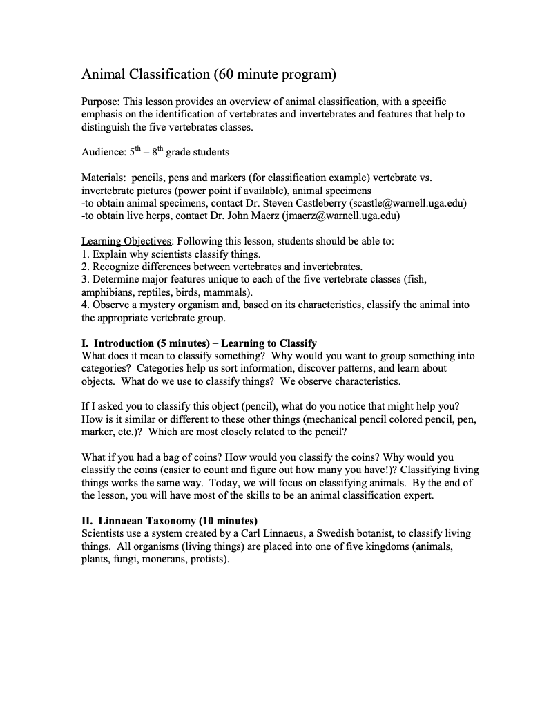 Animal Classification Lesson Plan for 5th - 8th Grade   Lesson Planet [ 1051 x 811 Pixel ]