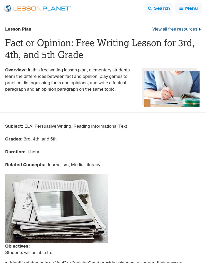 small resolution of Fact or Opinion? Lesson Plan for 3rd - 5th Grade   Lesson Planet