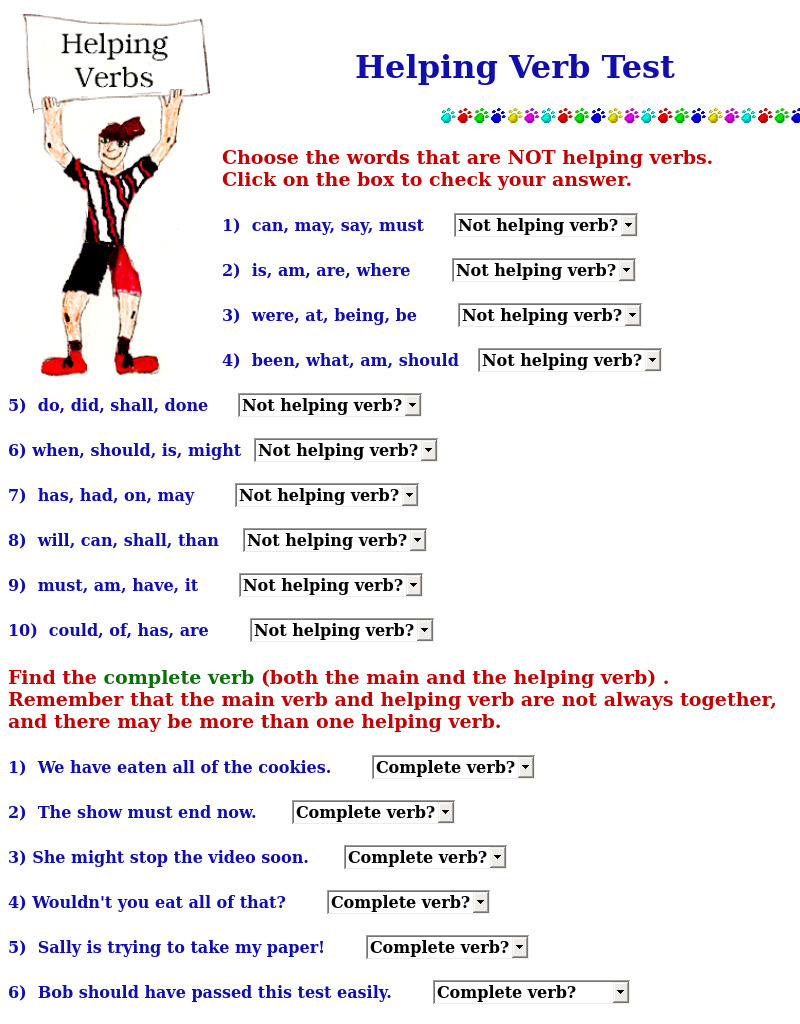 small resolution of Helping Verb Test Interactive for 4th - 10th Grade   Lesson Planet