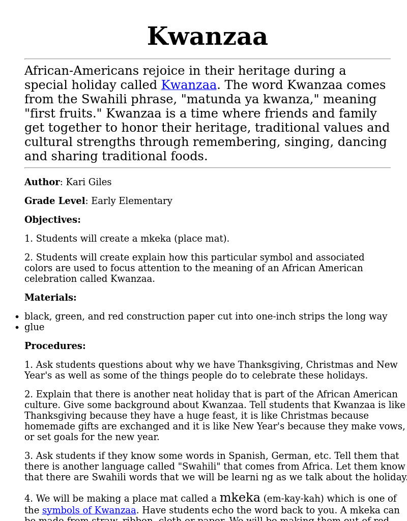 hight resolution of Kwanzaa Lesson Plan for 4th - 6th Grade   Lesson Planet