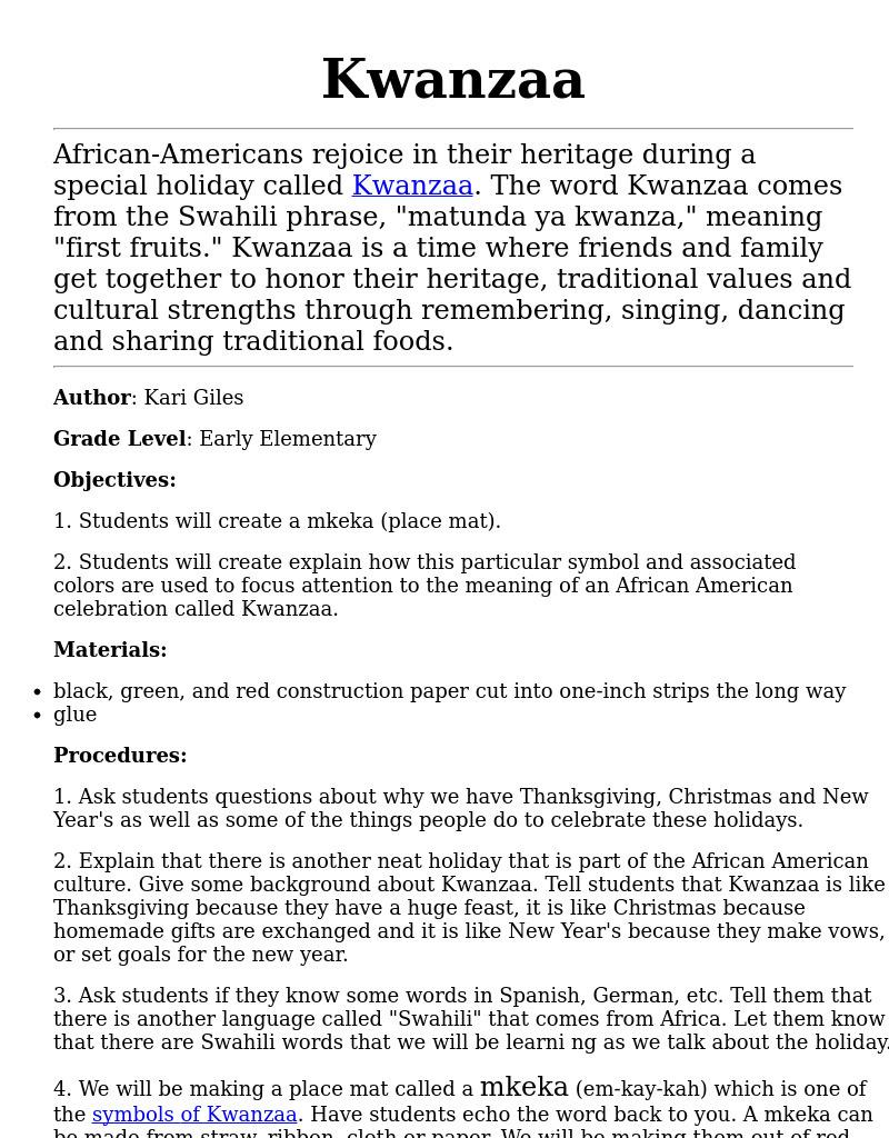 small resolution of Kwanzaa Lesson Plan for 4th - 6th Grade   Lesson Planet