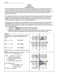 Linear Programming Worksheet : linear, programming, worksheet, Linear, Programming, Worksheet, Grade, Lesson, Planet