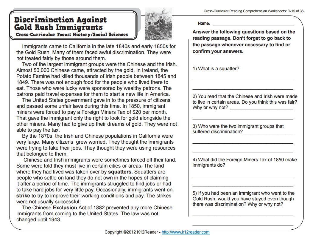 Discrimination Against Gold Rush Immigrants Worksheet for 4th - 5th Grade    Lesson Planet [ 807 x 1051 Pixel ]