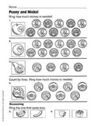 Penny and Nickel Worksheet for 1st - 2nd Grade | Lesson Planet