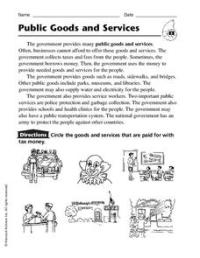 Public Goods and Services Worksheet for 2nd - 4th Grade ...