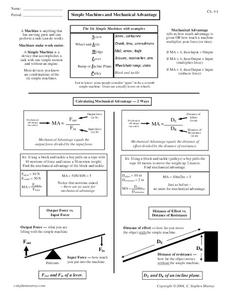 Simple Machines And Mechanical Advantage Worksheet For 7th  10th Grade  Lesson Planet