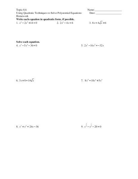 Solving Polynomial Equations Worksheet for 11th Grade