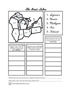 Printable Map Of Great Lakes : printable, great, lakes, Great, Lakes, Lesson, Plans, Worksheets, Reviewed, Teachers