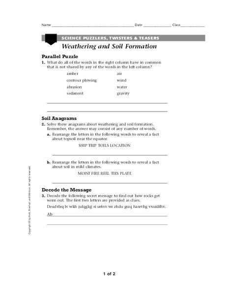 Soil Formation Worksheet Free Worksheets Library