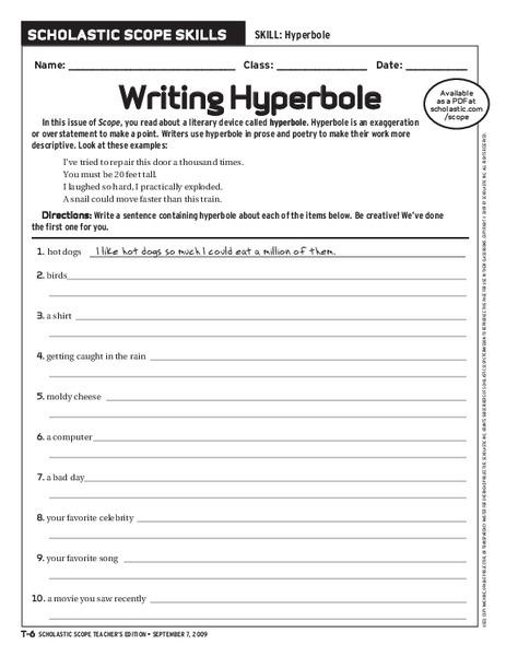 All Worksheets  Hyperbole Worksheets
