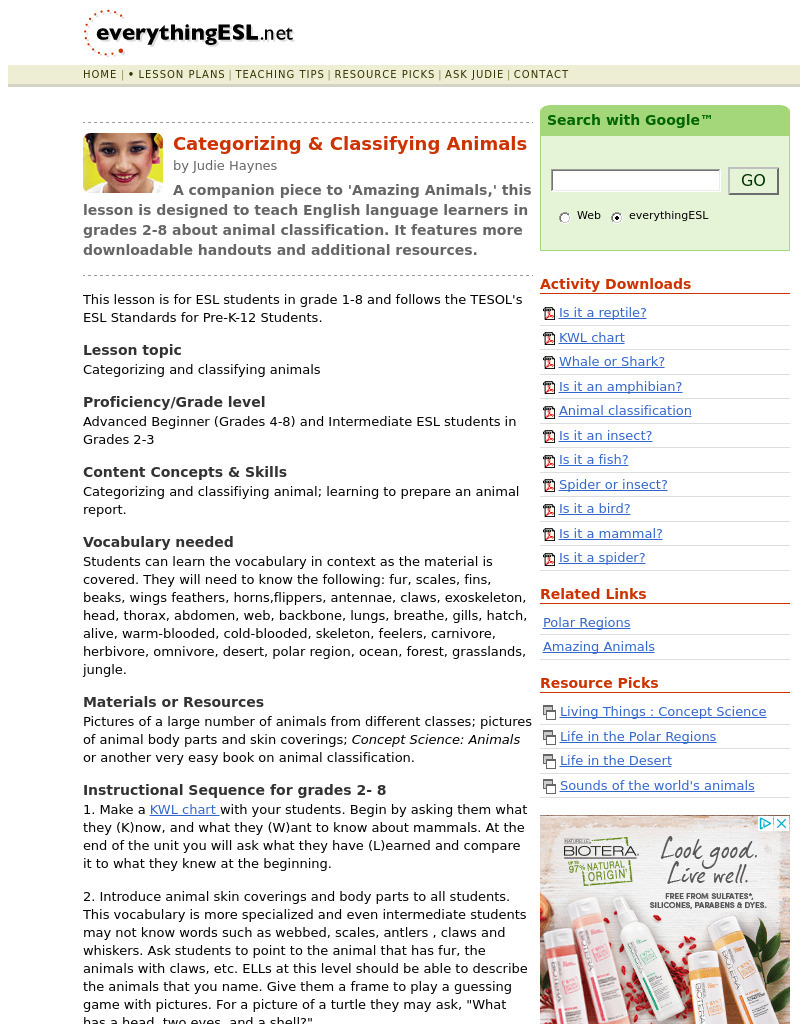 Categorizing \u0026 Classifying Animals Lesson Plan for 1st - 8th Grade   Lesson  Planet [ 1024 x 800 Pixel ]