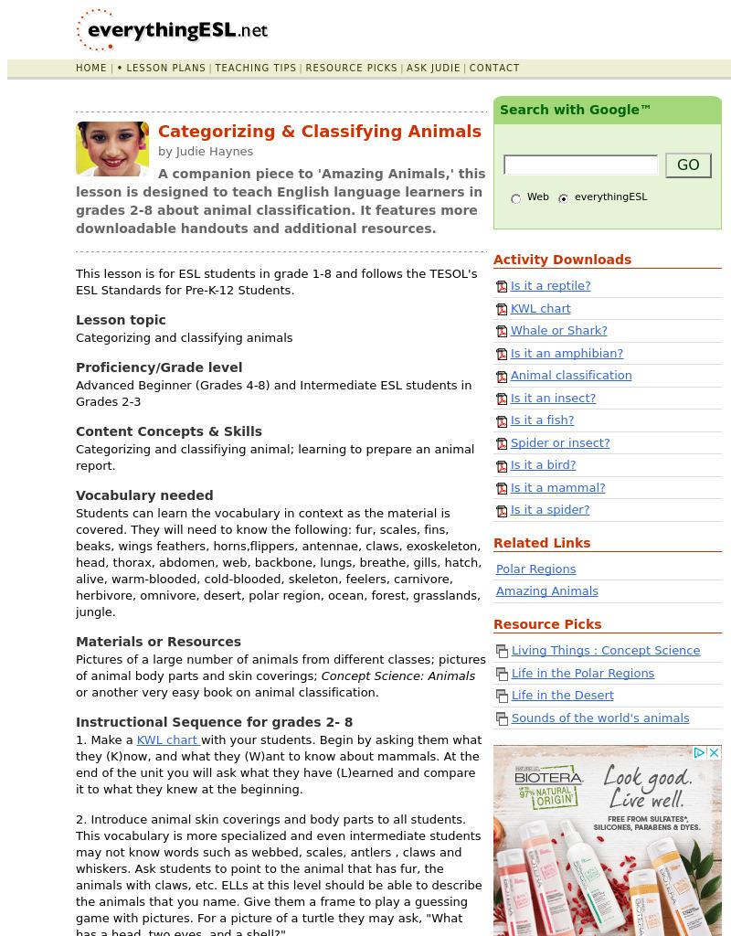 medium resolution of Categorizing \u0026 Classifying Animals Lesson Plan for 1st - 8th Grade   Lesson  Planet