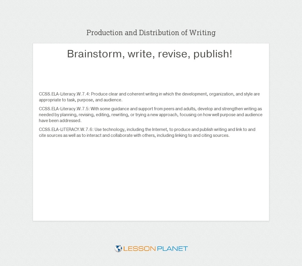 small resolution of Writing Process Lesson Plans \u0026 Worksheets   Lesson Planet