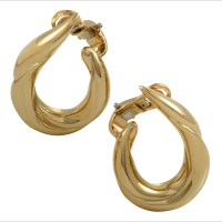 Boucheron Womens 18K Yellow Gold Clip-on Hoop Earrings | eBay